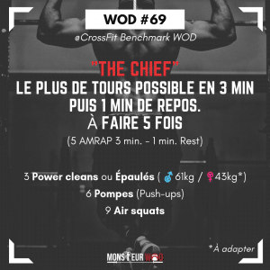 fiche entrainement n°69 benchmark wod the chief