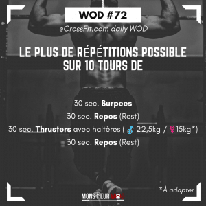 fiche entrainement crossfit thruster burpees