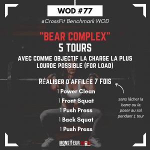 fiche entrainement benchmark wod bear complex