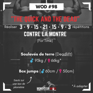 fiche entrainement wod the quick and the dead