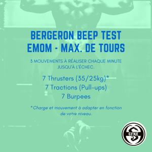 fiche entraînement benchmark wod bergeron beep test
